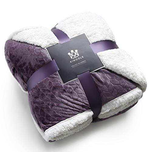 Kingole Double-Layer Reversible Luxury Sherpa Blanket, Lavender Purple King Size Extra Warm Super Soft Cozy Plush for Couch/Bed Microfiber 580GSM (108 x 90 inches)