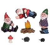 7pcs Miniatur Gartenzwerge Set Fairy gartenzubehör Figuren Drunk Gnomes Kit Fairy Resin Ornamente Gartenzwerg Lustig für Outdoor Oder House Decor (7 pcs)