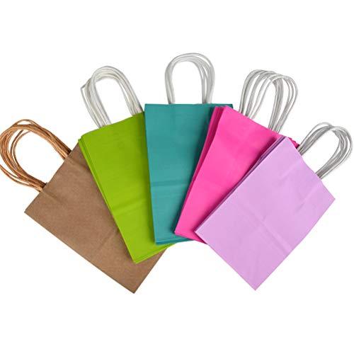 WOWOSS 20 Stück Geschenktüten mit Henkel,Kraftpapiertüten, Papiertüten Papiertaschen Papier Tüten, farbig, 15 x 8 x 21 cm