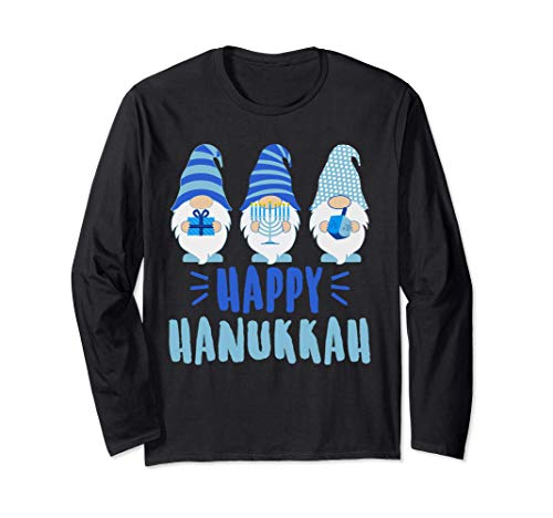 Tu Happy Hanukkah 2020 Gnome Menorah Dreidel Costume Long Sleeve T-Shirt