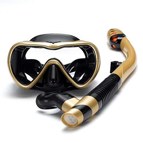Kagodri Máscara de pulmón de buceo, traje de esnórquel para adultos, máscara panorámica antivaho y tubo de esnórquel seco a prueba de fugas para adultos