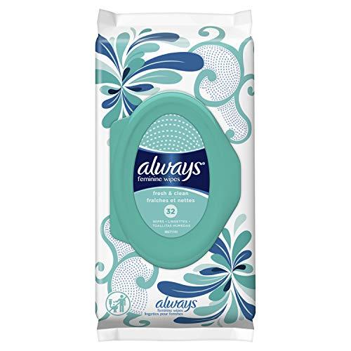 Always 32 Piece Feminine Wipes, Fresh & Clean Scent, 0.498 Pound