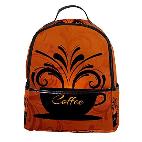 KAMEARI Mochila para la escuela vintage taza de café mochila casual para viajes con bolsillos laterales para botella