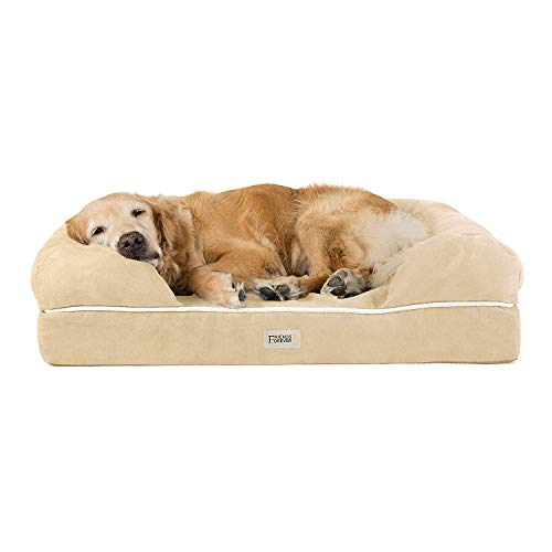 Friends Forever Orthopedic Dog Bed Lounge Sofa Removable Cover 100% Suede 4' Mattress Memory-Foam Premium Prestige Edition 36' x 28' x 9' Vanilla Large