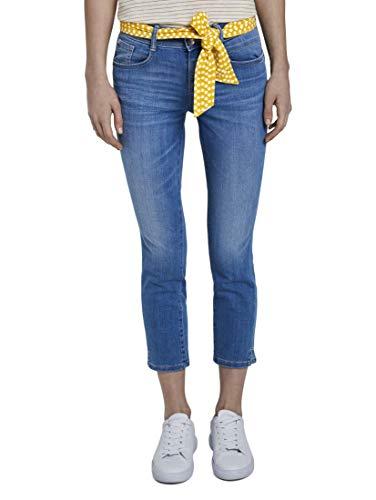 TOM TAILOR Damen Jeanshosen Alexa Slim in 7/8-Länge mit Bindegürtel Used Light Stone Blue Denim,27,10118,6000
