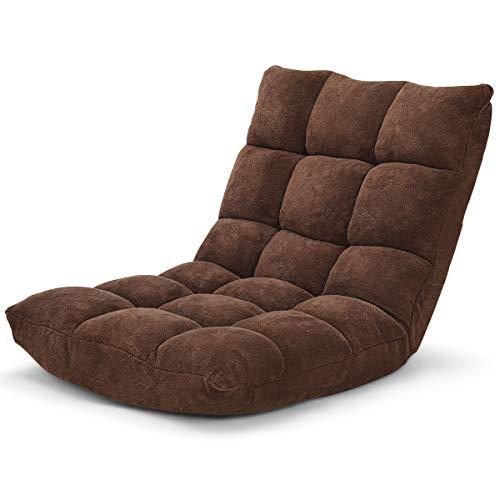 GOPLUS Bodenstuhl, Floor Chair Farbewahl, Meditationsstuhl Faltbar, Bodensofa mit Einstellbarer Rückenlehne,18 Faule Sofa (Braun)