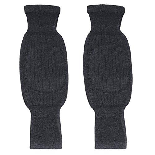 Rodilleras unisex suaves, transpirables y térmicas para invierno, en cálida lana y cachemir con almohadilla antideslizante de doble espesor para las rodillas, gris oscuro