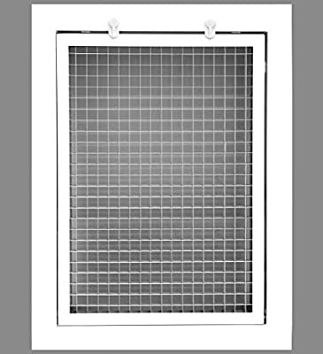 """Cube Core Eggcrate Return Air Filter Grille for 1"""" Filter - Aluminum - White[Outer Dimensions: 1.75 X 1.75]"""