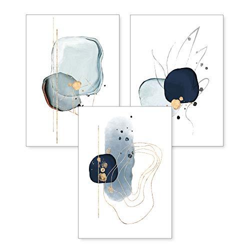 3-teiliges Premium Poster-Set | Kunstdruck | Abstrakt blau | Deko Bild für Ihre Wand | optional mit Rahmen | Wohnzimmer Schlafzimmer Modern Fine Art | DIN A4 / A3 (A4, ohne Rahmen)