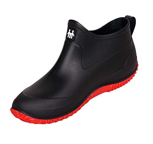 SMajong Herren Damen Gummistiefel rutschfeste Regenstiefel Warme Gefüttert Regenschuhe Gartenschuhe wasserdichte Kurze Stiefel,41 EU( Schwarz Rot)