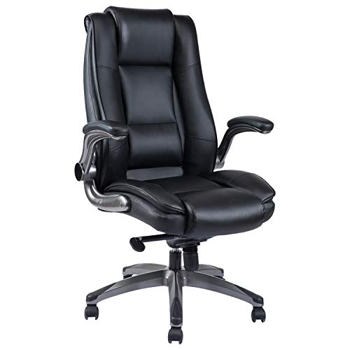 PEROINE High Back Bonded Leather Office Chair - Flip-up Arms and Adjustable Tilt Angle Executive Computer Desk Swivel Chair, Thick Padding for Comfort and Ergonomic Design for Lumbar Support