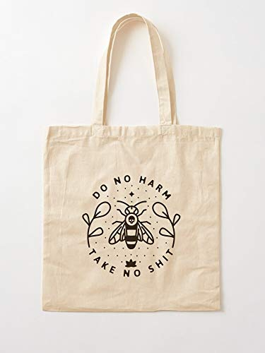 Killer Bees I The Bee Loyal Love Save Honey Africanized Floral Tote Cotton Very Bag | Canvas Grocery Bags Tote Bags with Handles Durable Cotton Shopping Bags
