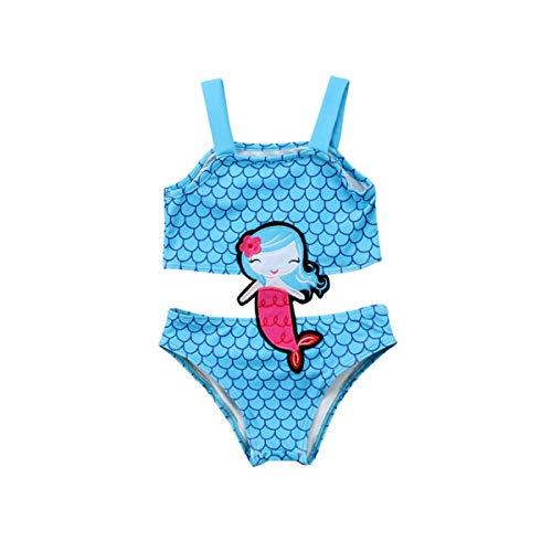 Pasgeboren baby schattige mouwloze vierkante hals cartoondruk mooie patronen badpak blauwe zwembroek was
