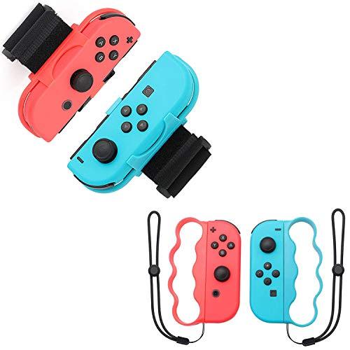 OLDZHU 4 in 1 Zubehörset für Nintendo Switch Controller-Spiel,Armbänder für Just Dance 2021 2020 2019 Switch,Boxgriff für Nintendo Switch Joy-Con Fitness-Boxspiel,für...