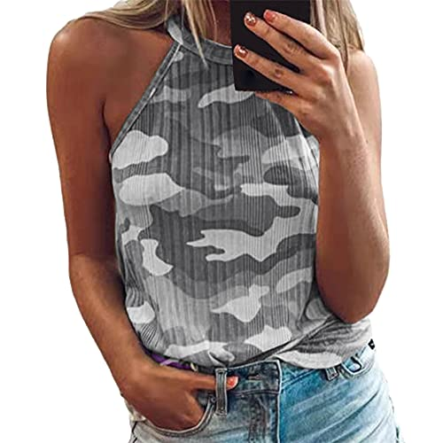 Mujeres Camuflaje Halter Tops Sin Mangas Strap Tank Tops High Casual Cami Tops tee Ladies Cami Plain Strappy...