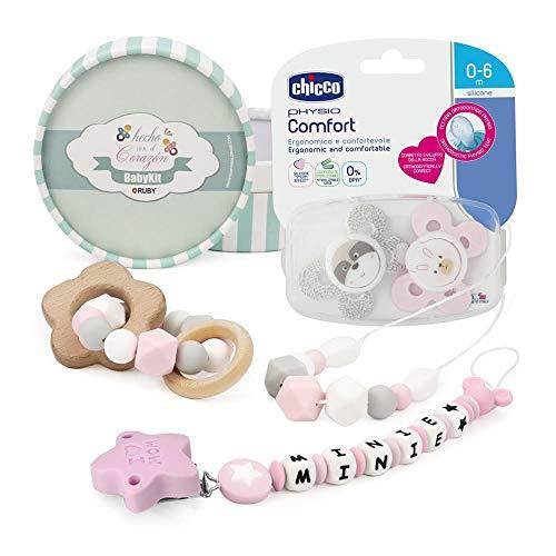 RUBY - Pack 4 piezas, chupetero personalizado con nombre, collar lactancia, sonajero mordedor mas pack chupete CHICCO (Rosa Pastel + Pack Chupete)