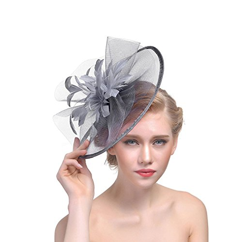 Elegante tocado para mujer, con diseño de flores, malla para el pelo, para novia, plumas, accesorios para el pelo, pastillero, cóctel, Royal Ascot, fiesta de té, iglesia, Derby Hat Gris gris Taille