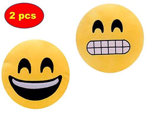ML Pack 2 x Cojín Emoji Sonrisa, Almohada Emoji Emoticon Relleno Suave Juguete de Peluche (Amarillo-gruñ)
