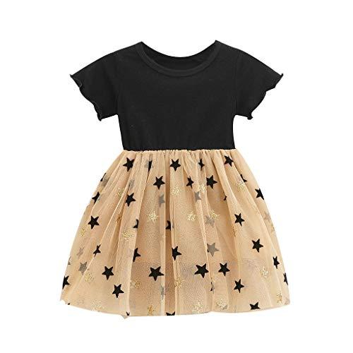 Transer Robes pour Enfants Filles Manches Courtes Oreilles en Bois mosaique Robe Maille étoiles Robe de Princesse