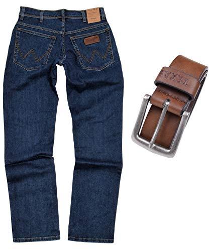 Wrangler Texas Stretch Herren Jeans Regular Fit inkl. Gürtel (W40/L36, Darkstone-Braun)