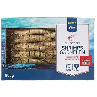 Gambas / Black Tiger Shrimps (roh), m. Kopf, m. Schale, Tiefkühl(16-20St) 800gr