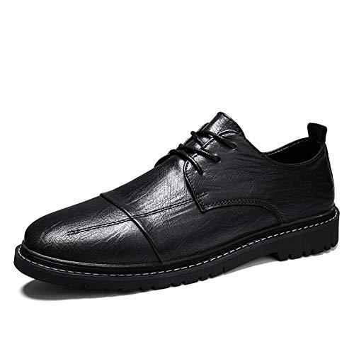 Datouya Zapatos de Vestir de Oxford para Hombre Costura de Esquina Redonda 3 Zapatos de Negocio de Encaje de Encaje Proporcionar la Mejor Comodidad para su Vida en to (Color : Black, Size : 44 EU)