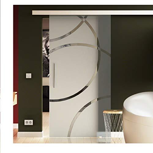 Glasschiebetür für Innenbereich Tür aus Glas zum Schieben mit Stangengriff-Paar beidseitig in 900 x 2050 in Circle-Design Denver (D) Made in Germany von Levidor in hoher Qualität