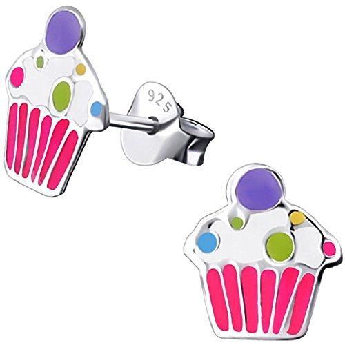 JAYARE Ohrringe Mädchen Muffin Cupcake 925 Sterling Silber rosa-pink Kinder Ohrstecker
