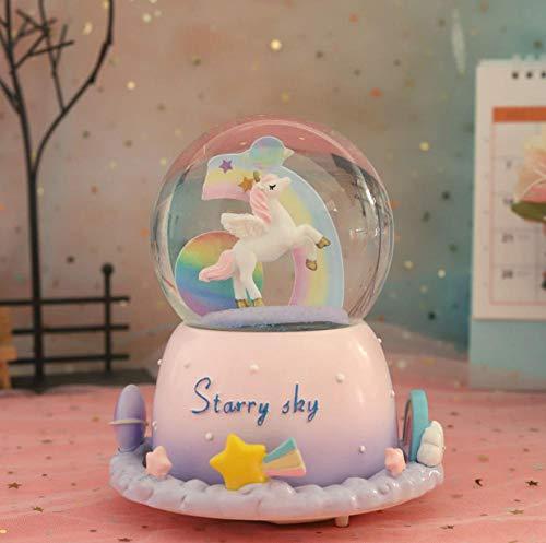 JMSHTU Globo de nieve musical de resina con diseño de unicornio, color rosa y caja de regalo