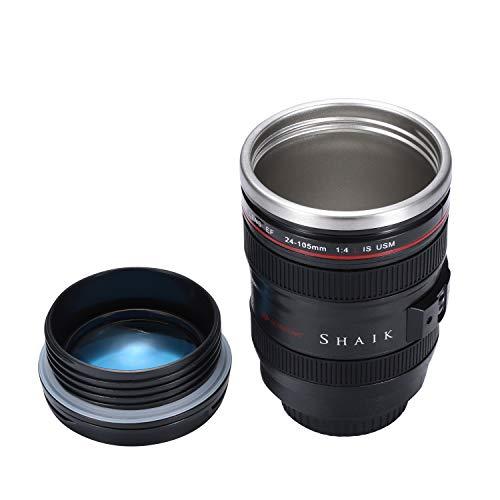 Shaik Camera Lens Koffie Mok, 12oz, De Nieuwste Stijl RVS Reizen Mokken 100% Lekvrij ~ Geïsoleerde Beker Werkt Geweldig voor Ijs Drinken, Heet Drank Black With Transparent Lid Zwart