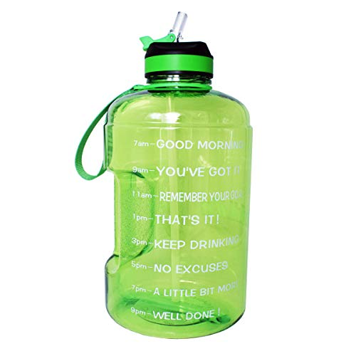 BuildLife Gallon Motivational Water Bottle with Time Marked to Drink More Daily and Nozzle,BPA Free Reusable Gym Sports Outdoor Large(128OZ) Capacity (Green, 1 Gallon)