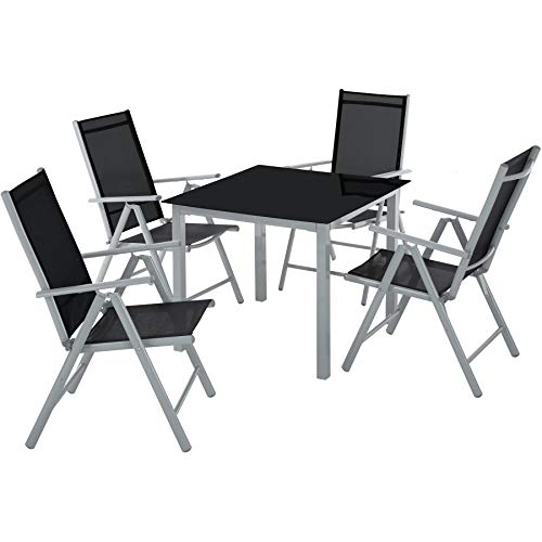 TecTake 800903 Aluminium garden furniture set | 4 foldable chairs and table with glass top | Garden, patio, balcony or conservatory outdoor dining set (Silver Grey)