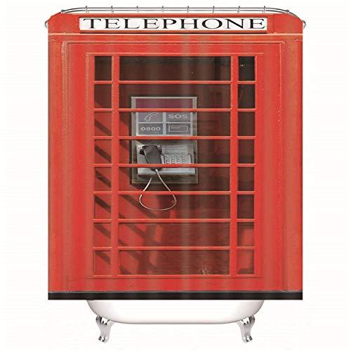 LGXINGLIyidian Duschvorhang Klassische Rote Telefonzelle Dusche Partition Badezimmer Dekoration 3D Digital Gedruckt Polyester Antibakteriell Verdicken wasserdichte Kreative 90X180 cm