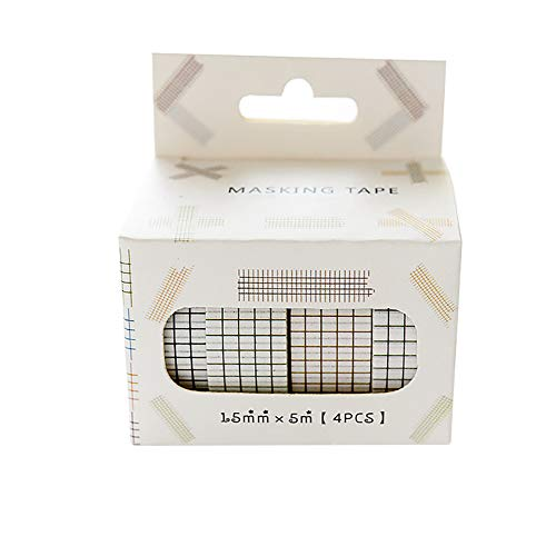 CAOLATOR.4 Stück Washi Tape Set, Niedlich Masking Tape Dekoratives Klebeband Sticker zum Basteln Handwerk DIY 1.5cm*5m Gitter