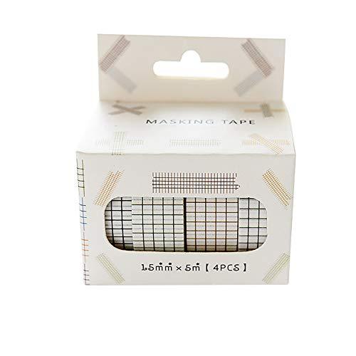 Weanty Klebeband Deko DIY schwarz weiß Streifen Punkt Karo kariert Muster Washi-Tape Scrapbooking Basteln Geschenk 4 Rolle 1.5cm*500cm (Karo)