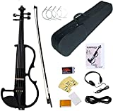 MIRIO Electric Violin, Black Full Size 4/4 Solid Wood Metallic Electronic/Silent Violin With Ebony Fittings, Carrying Case, Audio Cable, Rosin, Bow,Battery (black)