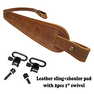 ORIGINAL POWER Cowhide Leather Padded Rifle Gun Sling, Crazy Horse/Brown Stitched, 1 inch Wide Amish Handmade (Rifle Sling + Swivels)