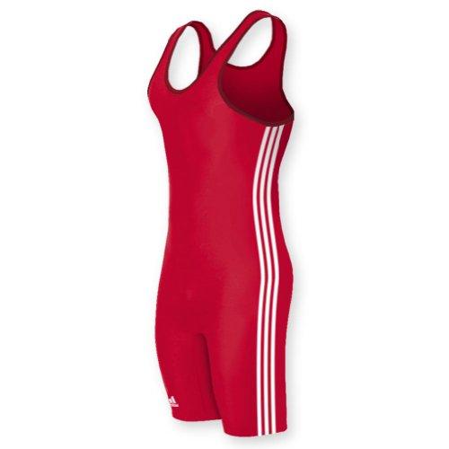 adidas aS102s Lycra 3 Streifen Wrestling Singlet - rot/weiß - XXL