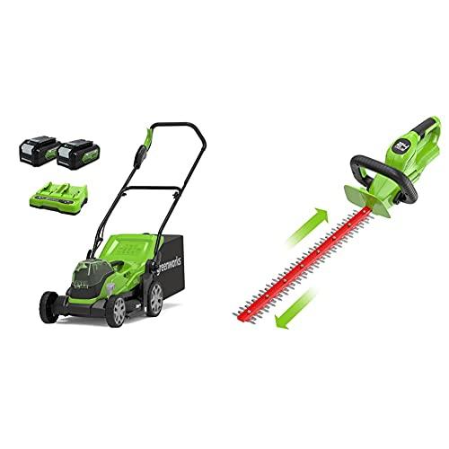 Greenworks Tools Cortacésped 2512507UD, 48 V, 2 x batería 4 Ah + Cortasetos Inalámbrico G24HT56, Li-Ion 24V 56 cm Longitud de la Espada, 18 mm Espesor Corte 3000 Cortes/min, Mango Adicional Ajustable