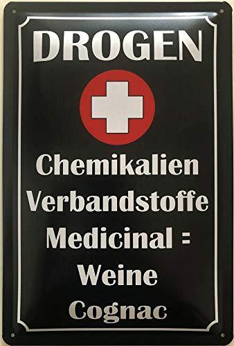 Deko7 blikken bord 30 x 20 cm drogen + chemicaliën verband Medicine = wijn Cognac