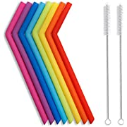 Hiware Reusable Silicone Straws, Long Flexible Silicone Drinking Straws with Cleaning Brushes for 30 oz Tumblers RTIC/Yeti - 10 Pieces - BPA-Free - No Rubber Taste