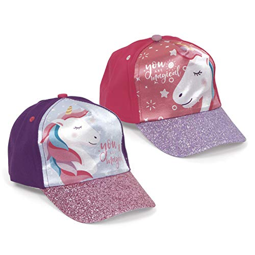 Familie24 Einhorn Auswahl Baseball Cap Kappe Schirmmütze Kinderbaseballcap Unicorn (Lila Glitzer)