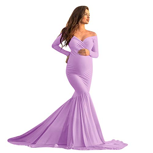 Women's Off Shoulder Maternity Mermaid Dress Slim Cross-Front V Neck Long Sleeve Stretchy Pregnancy Photography Fancy Party Wedding Evening Maxi Gowns for Photoshoot Lavender M