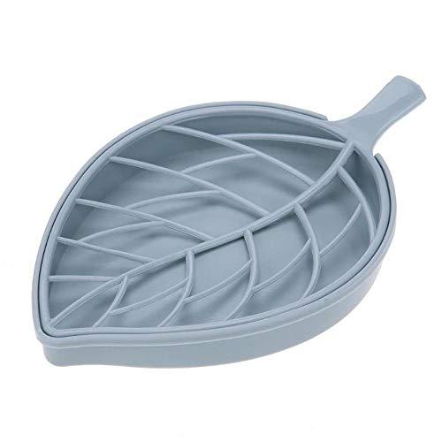 Jaboneras Doble capa de la forma de hoja de drenaje de jabón caja de jabón envase de la caja caja de almacenamiento portátil Suministros de hojas Platos Modelado de jabón de baño Holder-02 Perfecto pa
