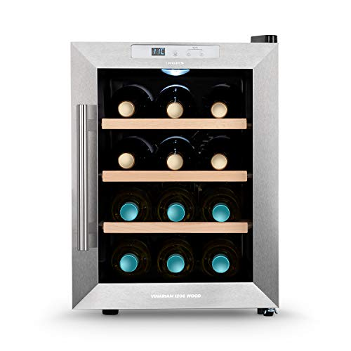 CREATE IKOHS WINECOOLER WOOD M - Vinoteca de 12 botellas, 33 l, 70 W Luz LED, Display Digital, 3 Estantes, Doble Aislamiento, Zonas de temperatura de 11-18 grados, Baldas Madera