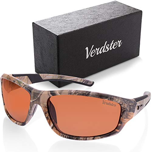 Verdster Camo Polarized Mens Sunglasses - UV Protection - Brown Camouflage Pattern Sun Glasses with Amber Lenses - Great for Fishing