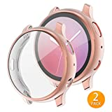 Tensea Compatible with Galaxy Watch Active 2 Case 44mm, 2 Packs Soft TPU Bumper Full Around Screen Protector Cover for Samsung Galaxy Watch Active 2 (Rose Gold, 44mm)