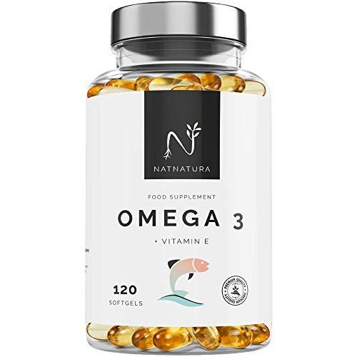 Oméga 3+Vitamine E. Forte dose d'acides gras oméga 3, 2000 mg. Forte concentration d'EPA-DHA. Effet anti-inflammatoire et antioxydant. Complément alimentaire à base d'huile de poisson. 120 capsules.