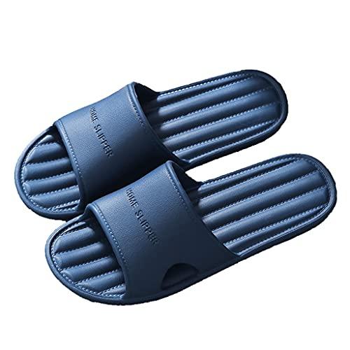 HOUFT Sandalias unisex con puntera abierta, sandalias antideslizantes para baño y baño, para interiores y exteriores de verano (color: azul, tamaño: 42-43EU)