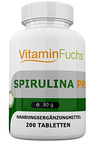 Spirulina Tabletten aus Deutschland. Kontrollierter Anbau mit vielen Mineralstoffen, Spurenelemente und Vitamine - Spirulina 200 Tabletten von VitaminFuchs